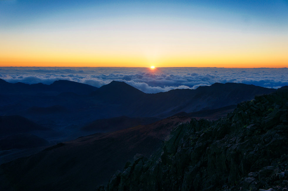 Sunrise above the clouds in Maui, Hawaii