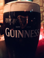 A closeup view of a freshly poured Guinness pint in Dublin