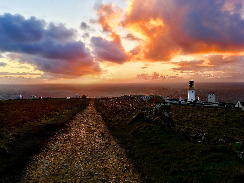 Sunset at Dunnet Head lighthouse lookout point