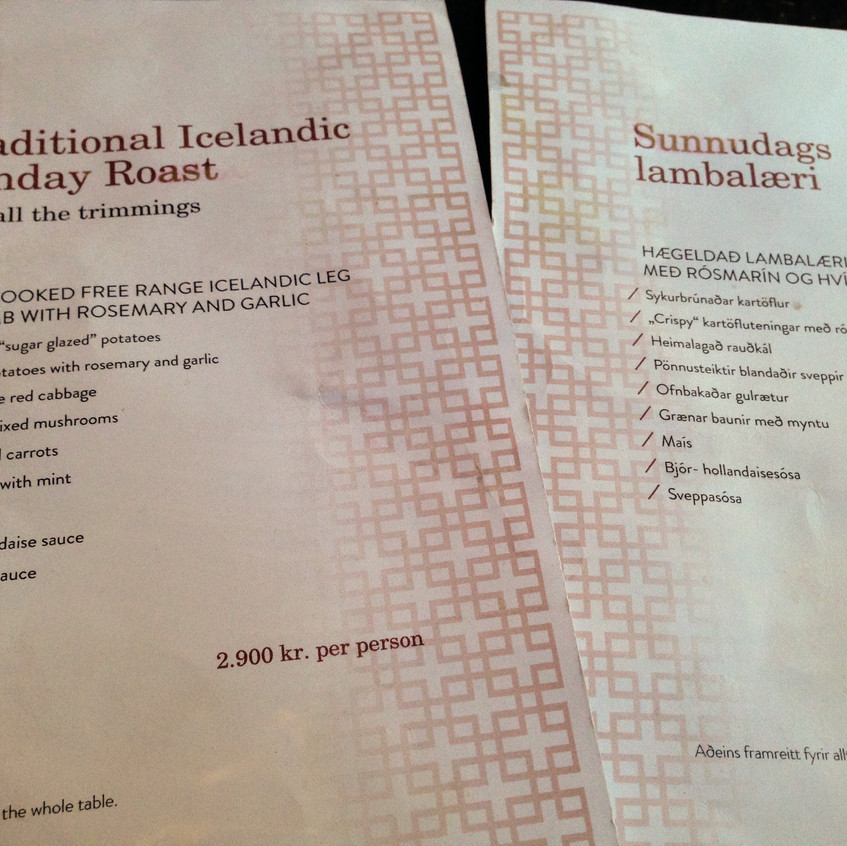 Sunday Roast Menu at Apotek Restaurant in Reykjavik, Iceland