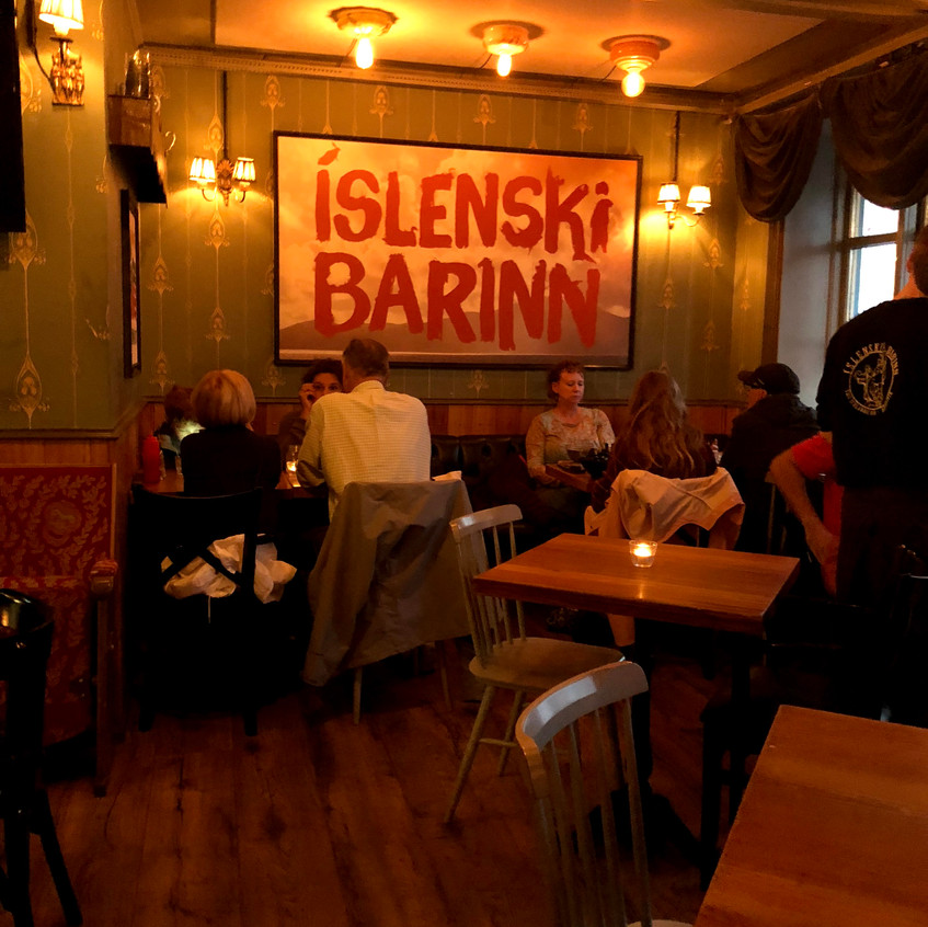 Islenski Barinn is a cozy restaurant in the heart of Reykjavik that is popular with locals and visitors