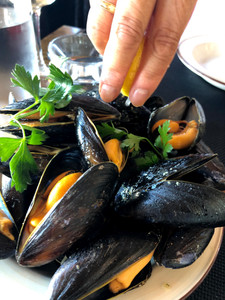 Succulent, fresh Islandic Mussels at The Harbor Restaurant in REYKJAVIK, Iceland