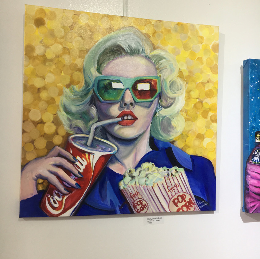Hollywood Gold, popsurrealism contemporary fine art painting about film, movies, cinema, moviegoers artwork by Krissy Whiski
