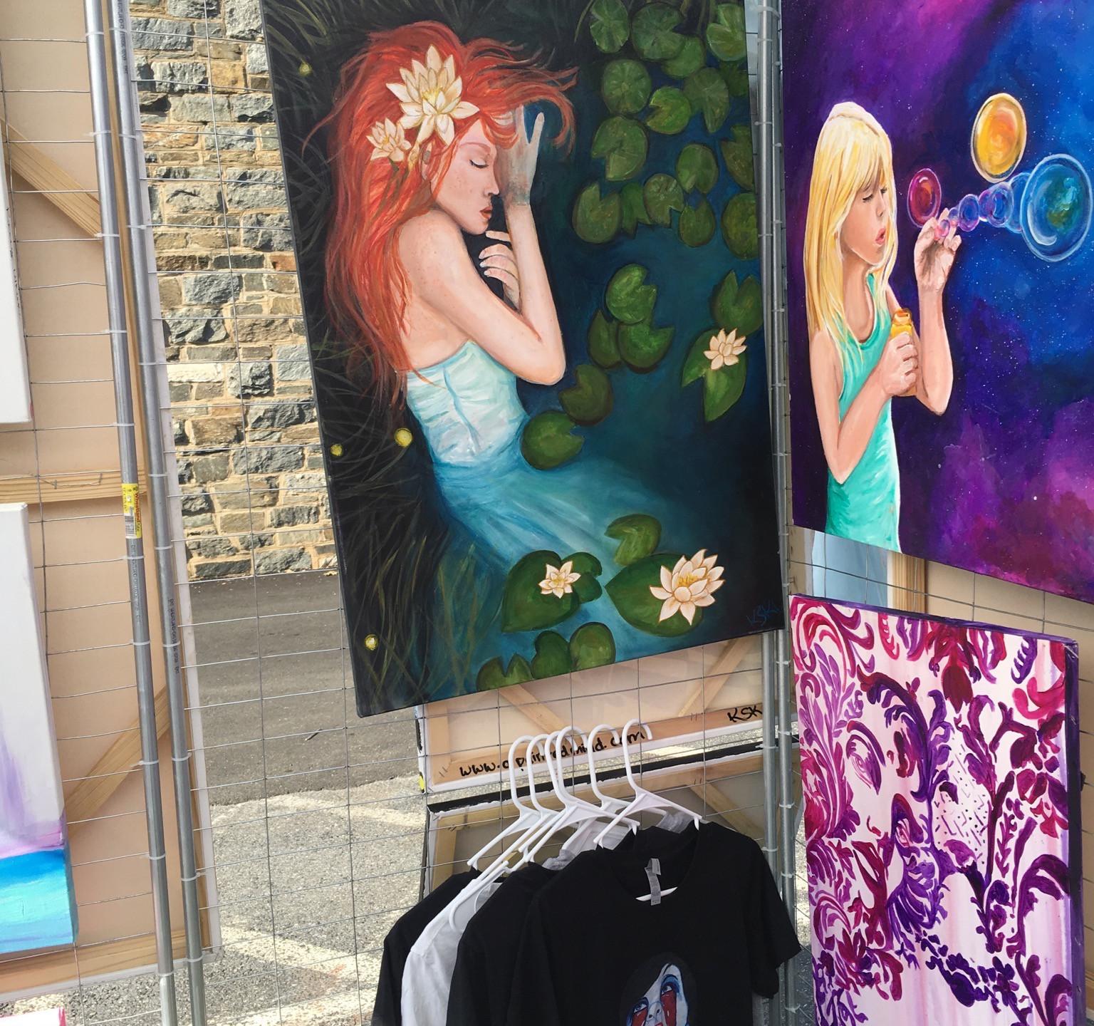 Krissy Whiski Art Show tent craft fair booth inside of tent fine art