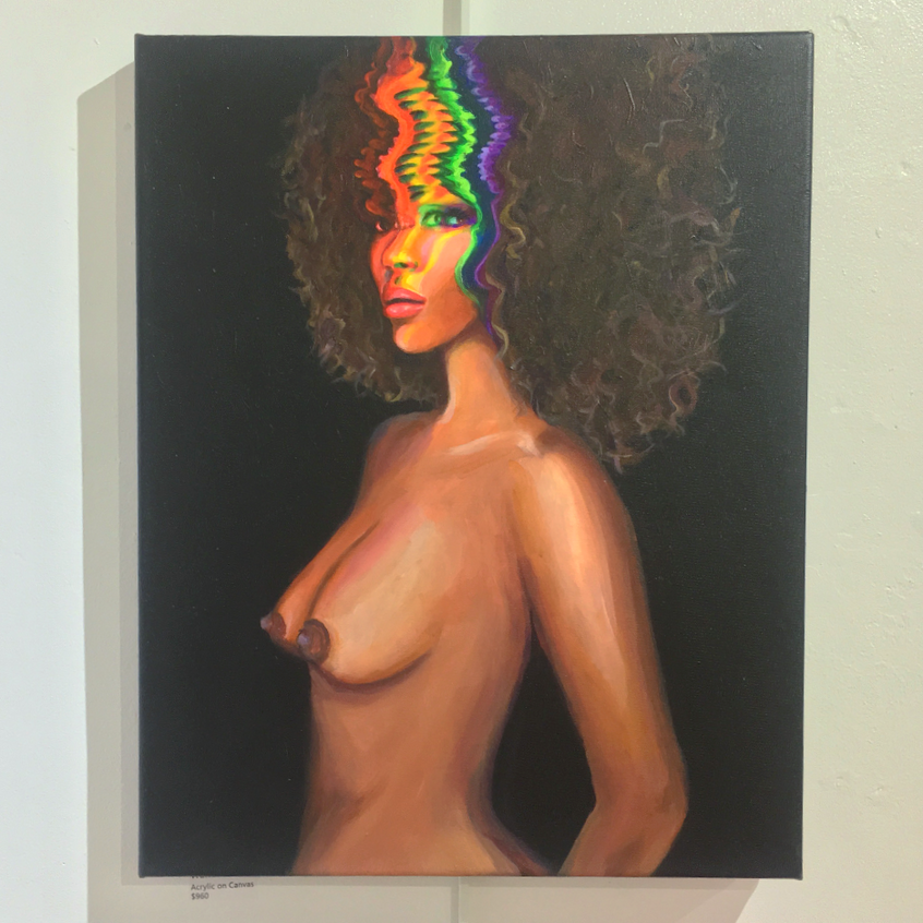 Wanderlust by Krissy Whiski contemporary fine art painting at PROP in New Hope, PA , glitch art, trippy, nude african american woman, surrealism, inspired by Jimi Hendrix Little Wing