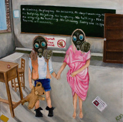 Overprotected Gas mask kids painting anti vacciners helecopter parents painting art