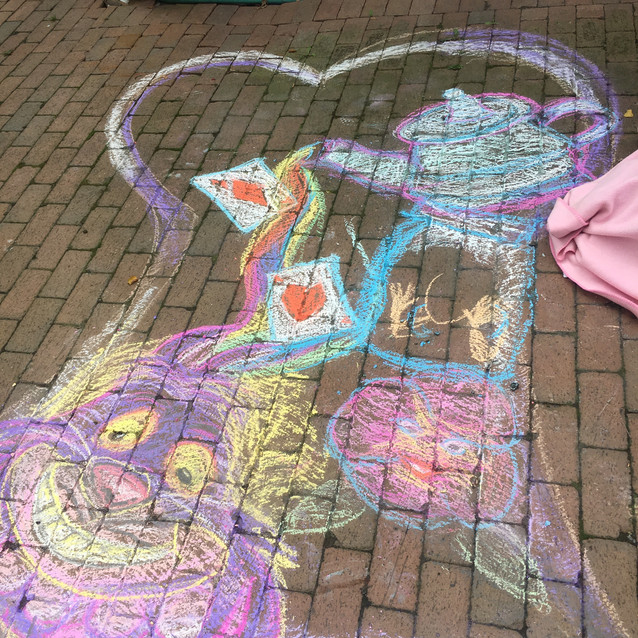 Cheshire cat sidewalk chalk