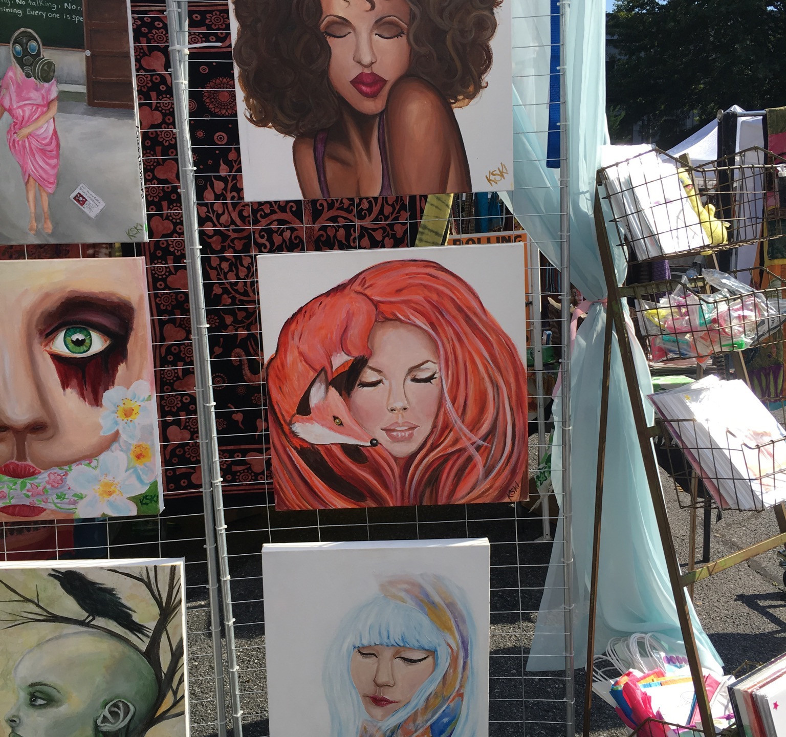 Krissy Whiski Art Show tent craft fair booth foxy lady purrfect cat lady koi asian, black, african american, red head, ginger beautiful women all race paintings