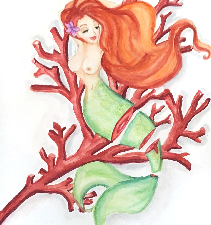 Sushi Mermaid Ruby Coral art Krissy Whiski