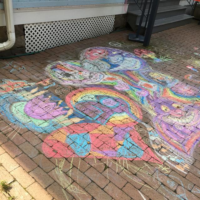 Sidewalk chalk art at Prop, New Hope