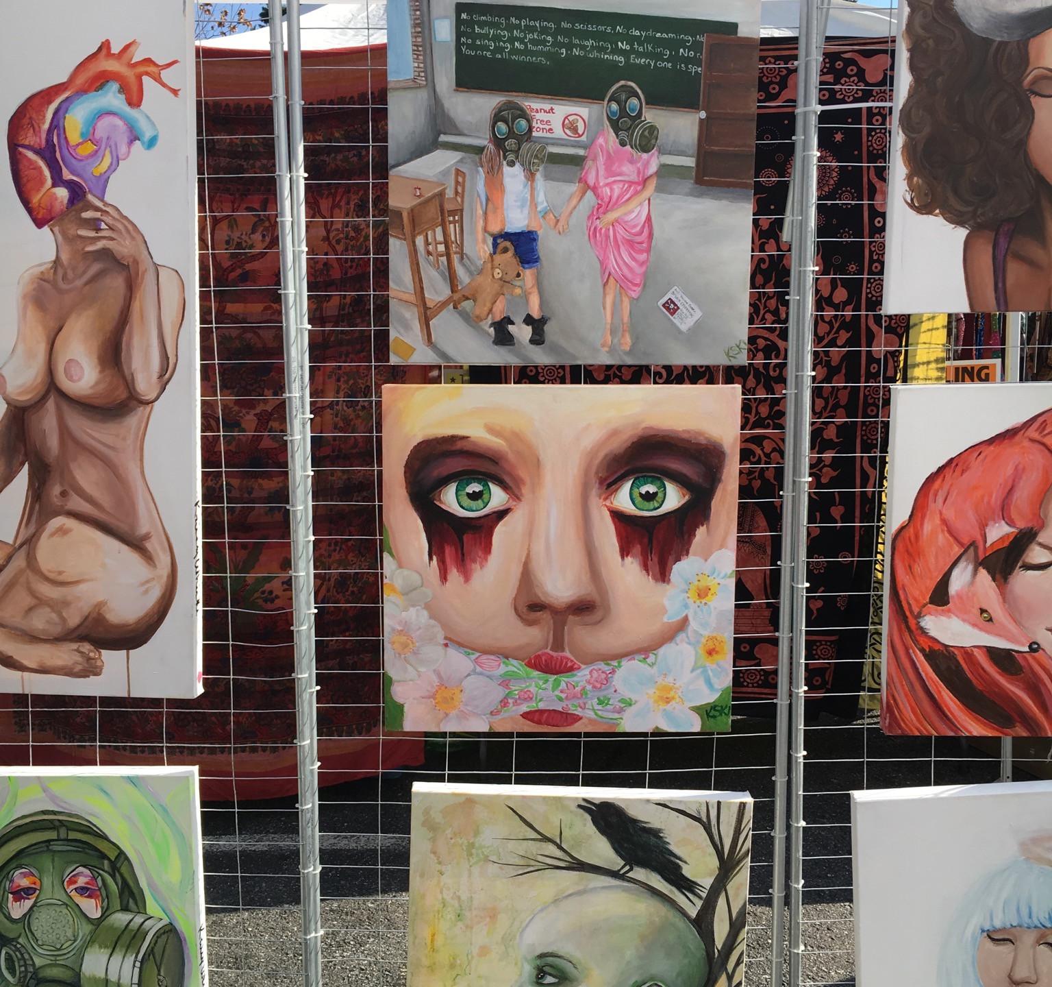 Krissy Whiski Art Show tent craft fair booth censored political mental health awareness awakening fine art
