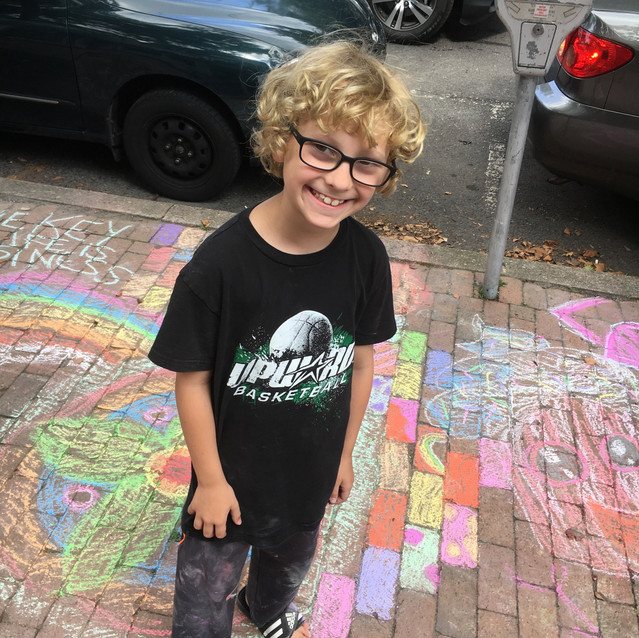 Sidewalk chalk art in New Hope event