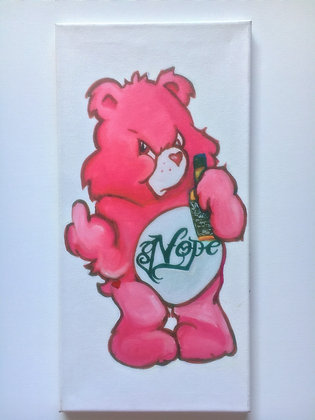 Pink Don't Care Bear Wrapped Canvas Print