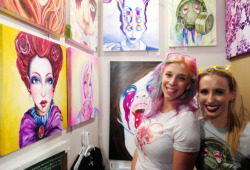 Urban street artist Krissy Whiski with Founder of MMR Hailey Dollar for charity fundraiser at Pancakes&booze DC