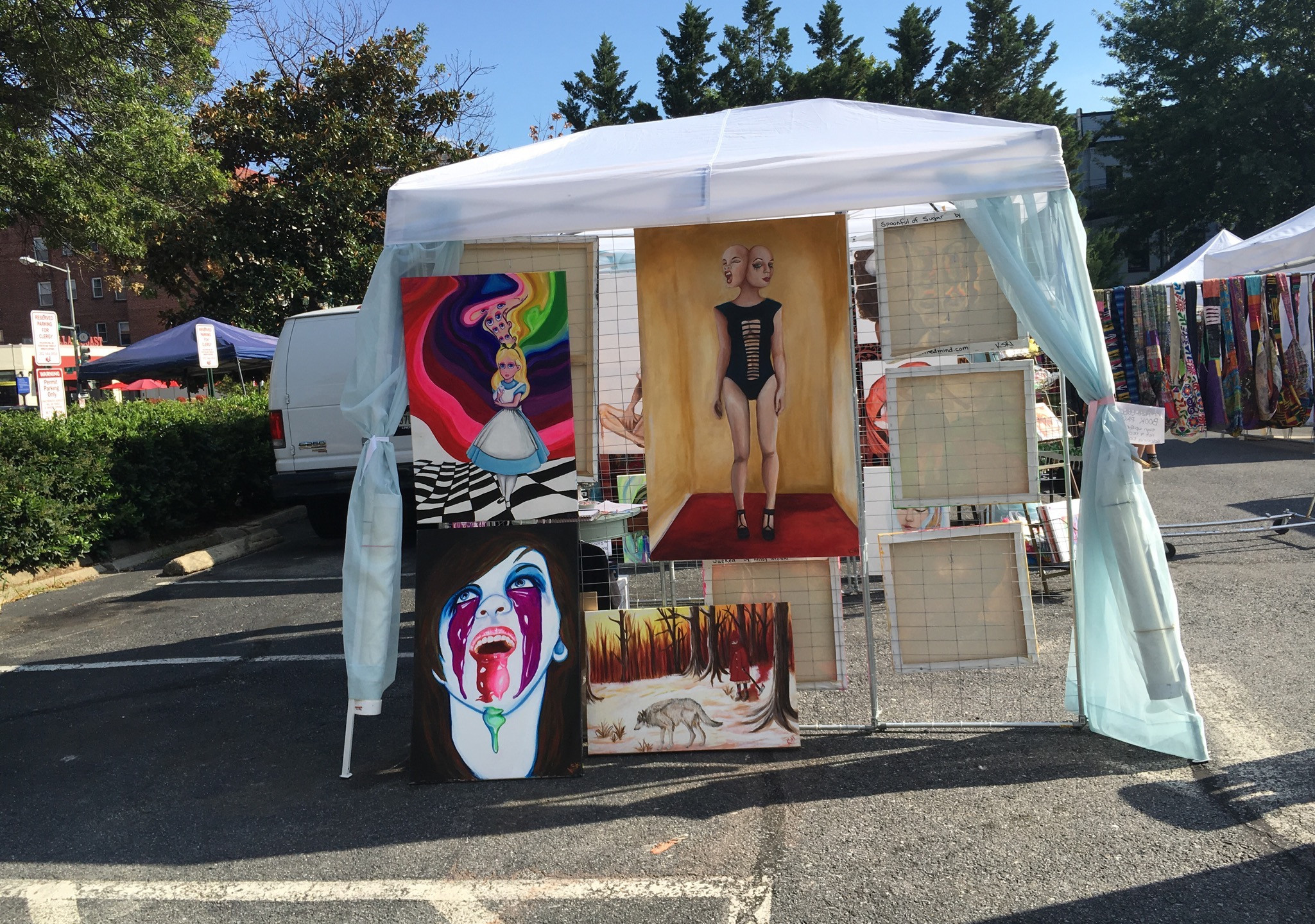Krissy Whiski Art Show tent craft fair booth art rave dc fine paintings trade booth