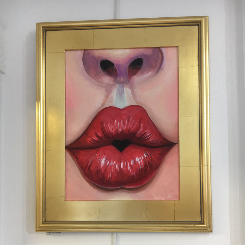 Lips Kiss painting fine contemporary art by pop surrealism artist Krissy Whiski painter, solo show in New Hope, PA