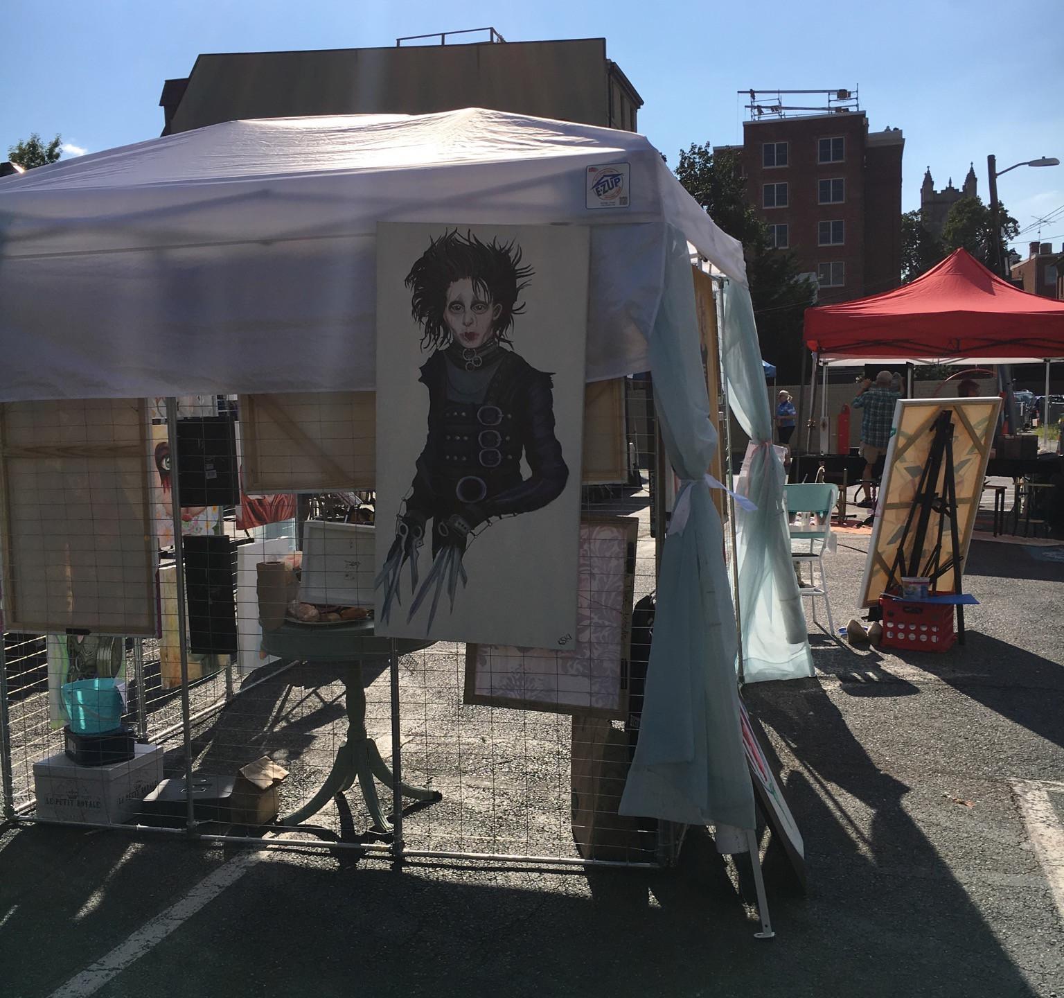 Krissy Whiski Art Show tent craft fair booth fine art paintings edward scissorhands tim buron dc art rave