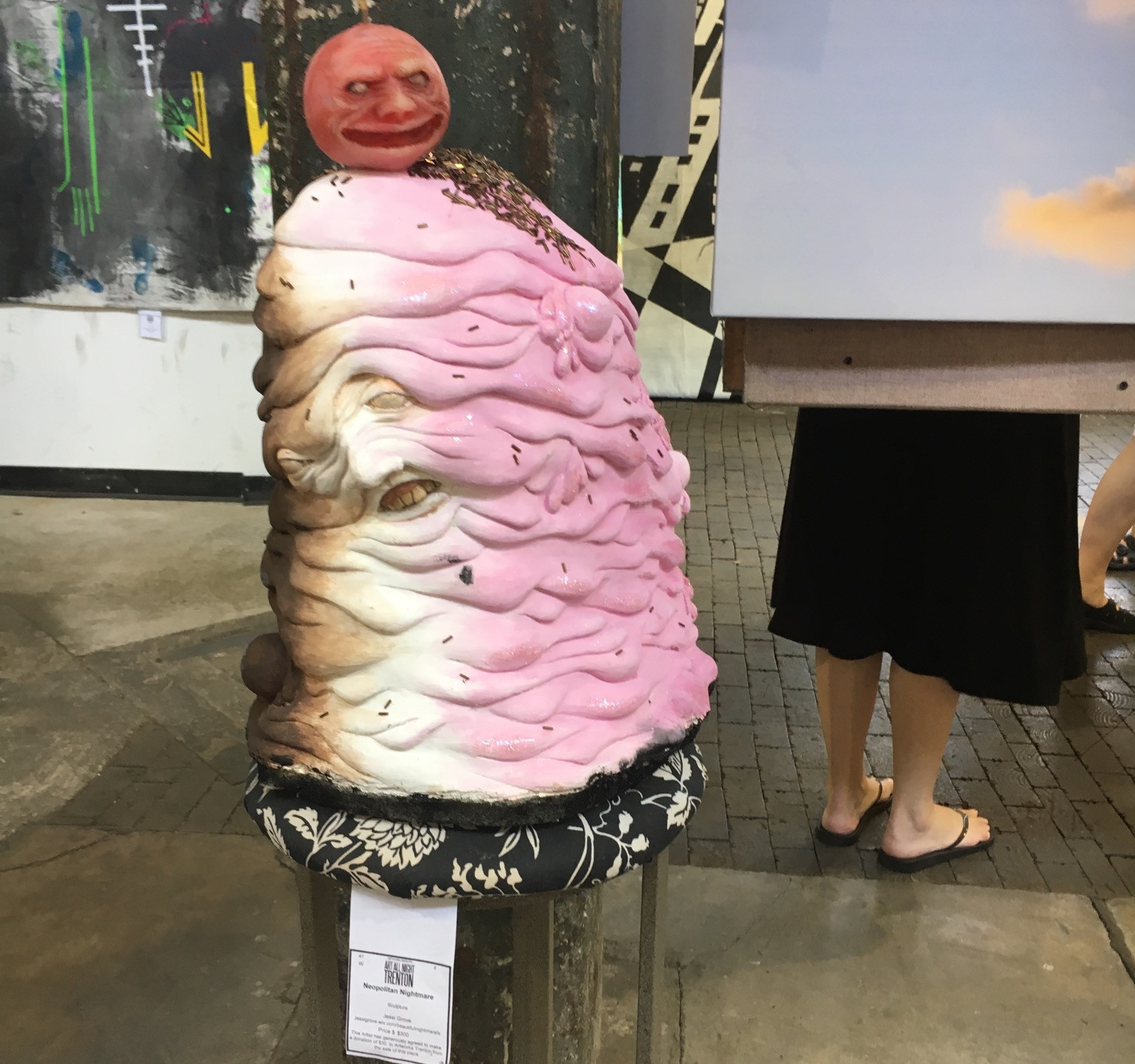 Umm, Neapolitan Ice Cream sculpture is melting in the heat, figuratively at Art All Night 2016
