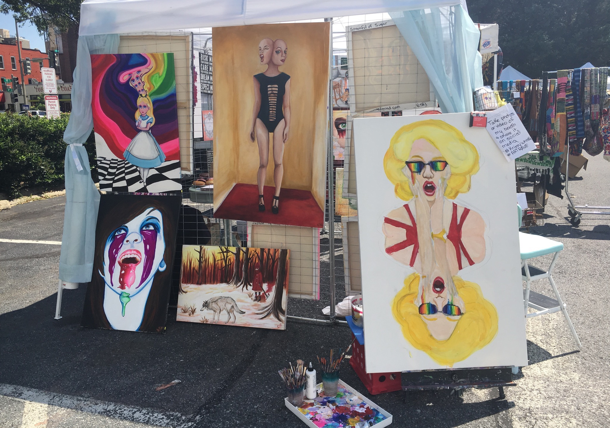 Krissy Whiski Art Show tent craft fair booth side view paintings