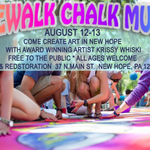 Sidewalk Chalk art event in New Hope