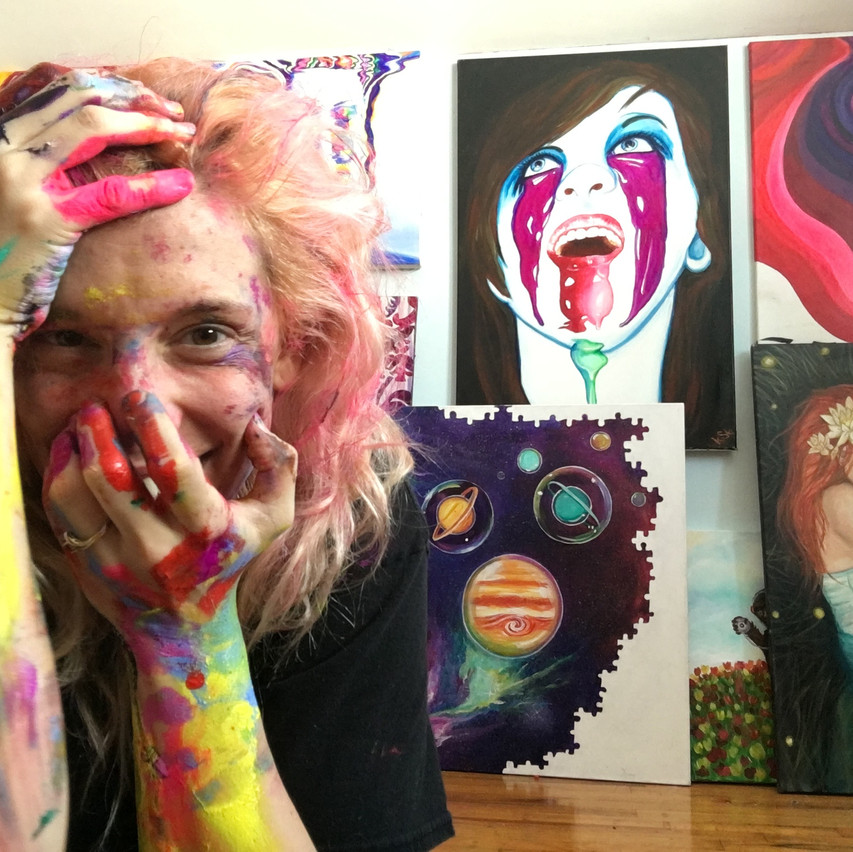 Krissy Whiski Covered in Paint