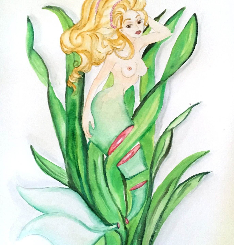 Sushi Mermaid Emerald Seaweed art  Krissy Whiski