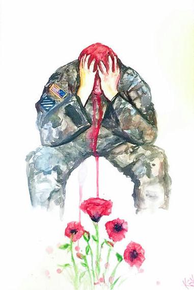 ptsd soldier veteran poppies painting by krissy whiski