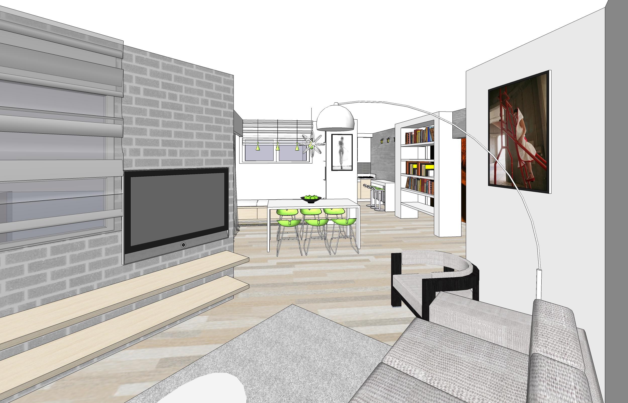 עיצוב חלל ציבורי, דירת 3 חד' גבעתיים