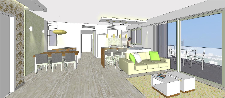 חדר מגורים,  דירת 4 חדרים, קרית אונו