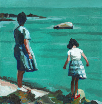 Mother and daughter on the sea shore