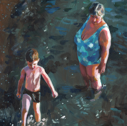 In the sea with grandmother