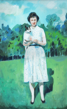 Lady and a dog in the country side
