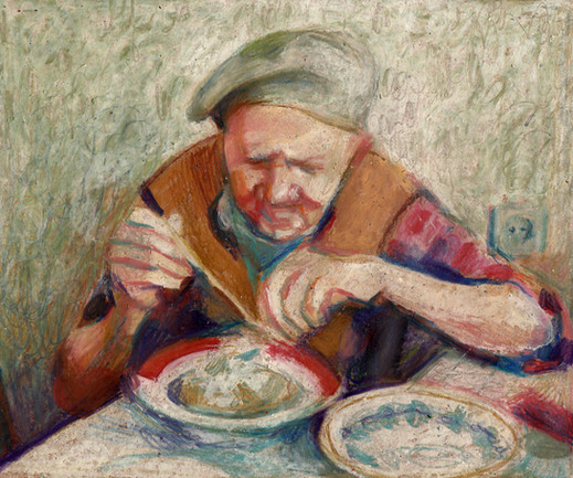 Grandfather eating