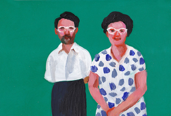 Couple with white glasses