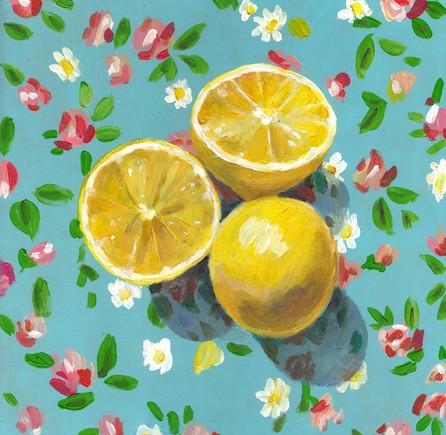 Lemons on flower background