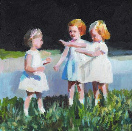 Three little girls playing