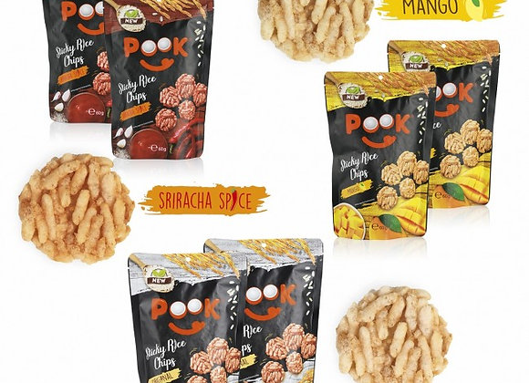 Pook Sticky Rice Chips Try Me Set - 6-tlg - 60g