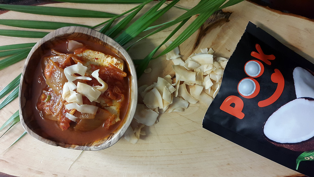 kimchi stew with original coconut chips from pook