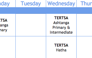 Summer 2018 yoga schedule in Tertsa