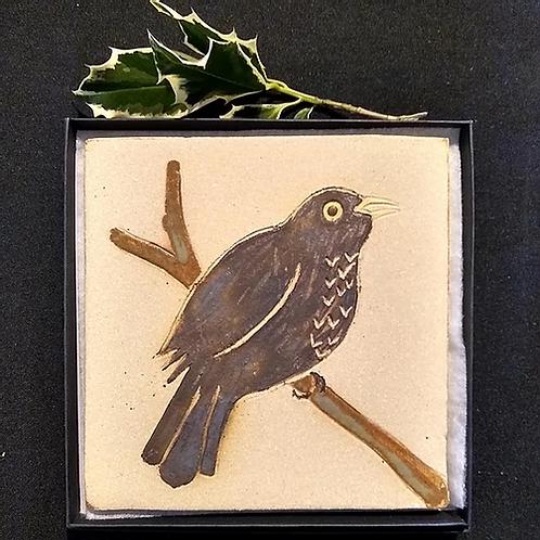 Blackbird Stoneware Plaque