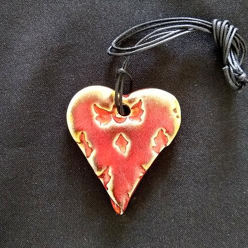 Red Embossed Heart Pendant