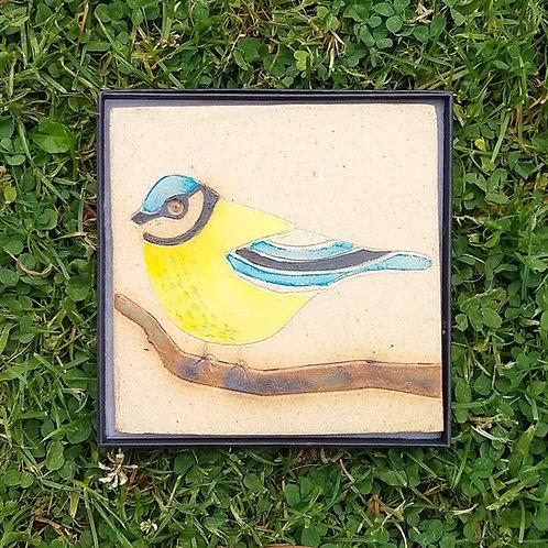 Blue tit stoneware plaque