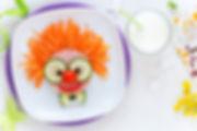 Fun food for kids - cute smiling clown f