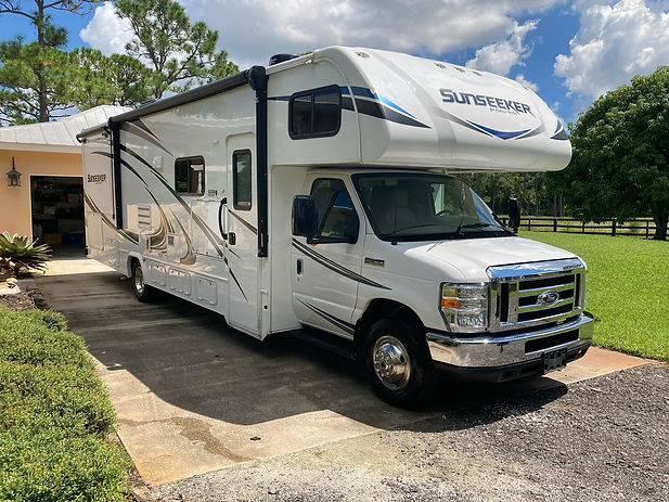 RV Wash and Wax Detail on this Forest River Sunseeker RV, in Palm City, Florida