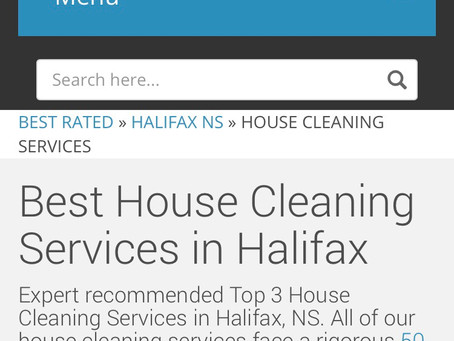 We Made The List for The Three Best Rated Cleaning Services in Halifax, Nova Scotia.