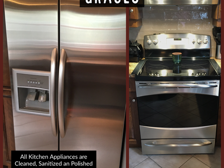 Appliances Cleaned, Disinfected and Polished.