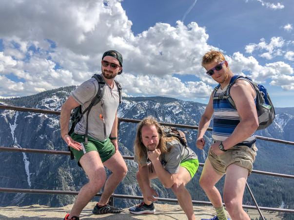 Sam Salerno, Jordan Honer, and Joey Wallberg showing off their super white thighs at the top of Yosemite Falls