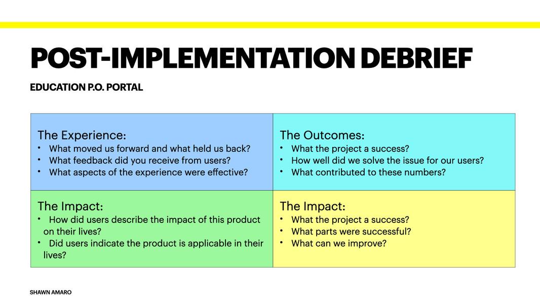 Post-Implementation Debrief