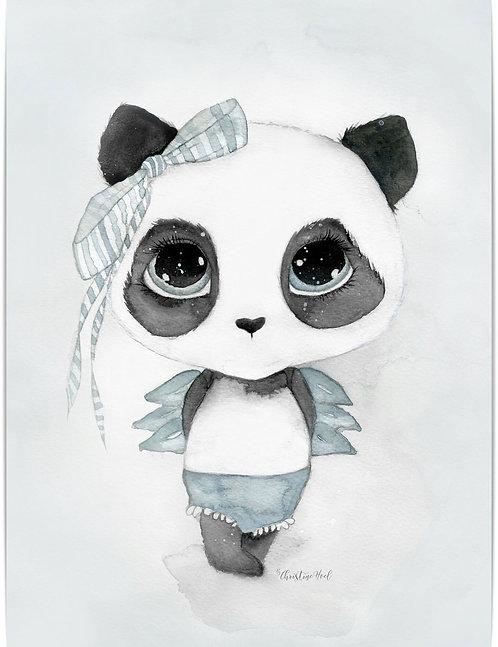 "By Christine Hoel - ""Panda Signe"" 30x40cm"