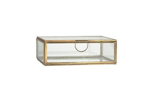 Glasschachtel mit Deckel in Gold medium